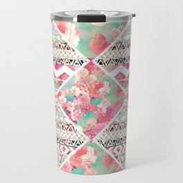 Aztec Floral  Diamond Travel Mug