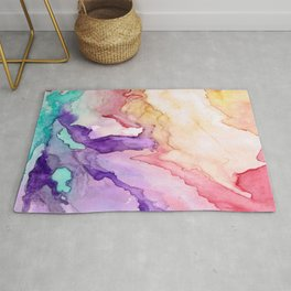 Color My World Watercolor Abstract Painting Rug