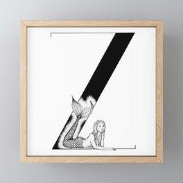 Mermaid Alphabet Series - Z Framed Mini Art Print
