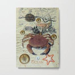 Crab And Ancient Map Metal Print