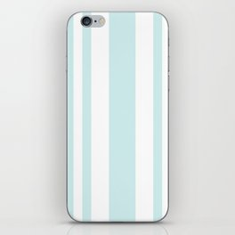 Mixed Vertical Stripes - White and Light Cyan iPhone Skin