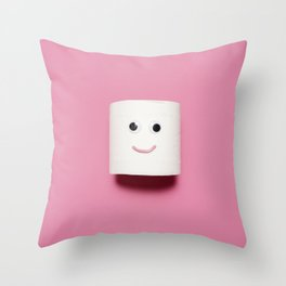 Happy toilet paper on pink background Throw Pillow