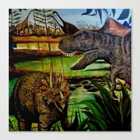 dinosaurs Canvas Prints featuring DINOSAURS by shannon's art space