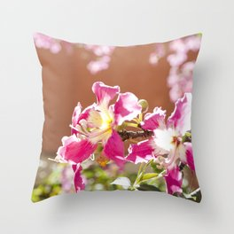 The Flowers on the Silk Floss Tree Throw Pillow