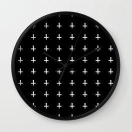 White Crosses Halloween Pattern | Minimalism Wall Clock