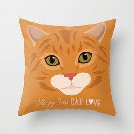 Allergy Free Cat Love: Ginger Tabby Throw Pillow