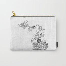 Michigan - Hand Lettered Map Carry-All Pouch