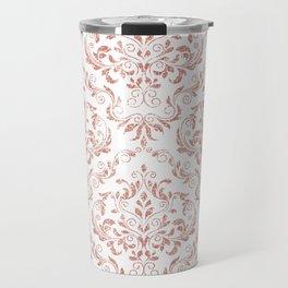 Rose Gold Glitter and White Damask Travel Mug
