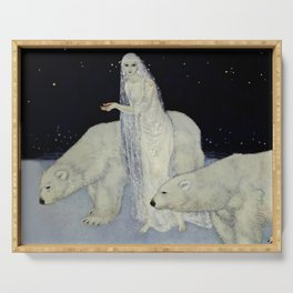 """""""The Snow Queen"""" Fairy Tale Art by Edmund Dulac Serving Tray"""
