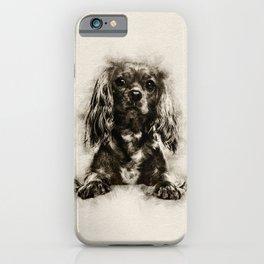 Cavalier King Charles Spaniel Puppy Sketch iPhone Case
