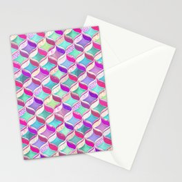 Patchwork Ribbon Ogee Pattern with Pink & Purple Stationery Cards
