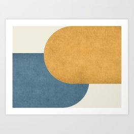 Halfmoon Colorblock - Gold Blue Art Print