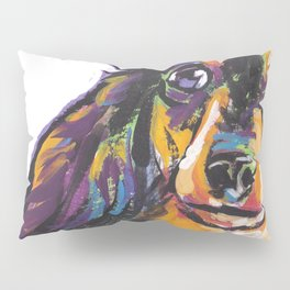 Longhaired Dachshund Fun Dog Portrait bright colorful Pop Art Painting by LEA Pillow Sham