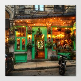 Green Cafe in Old Montreal Canvas Print