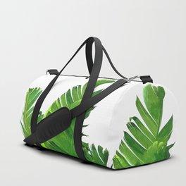 Palm banana leaves tropical watercolor illustration Duffle Bag