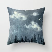 cloud Throw Pillows featuring The cloud stealers by HappyMelvin