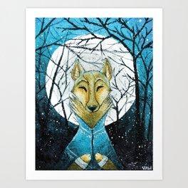 Lobo de Luna Art Print