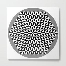 Black and White Puzzle Hexagon Metal Print