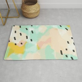 Sammy's Twin - Soft green abstract digital painting Rug