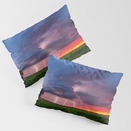 Quad Strike - Lightning Rains Down on the Oklahoma Landscape Pillow Sham