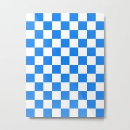 Checkered - White and Dodger Blue Metal Print