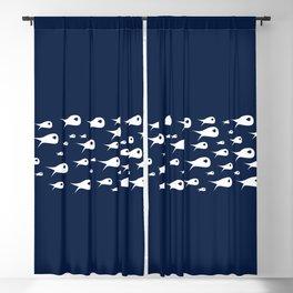 Fish Stripe 3 . Minimalist Mid-Century Modern Fish School in White on Nautical Navy Blue Solid Blackout Curtain