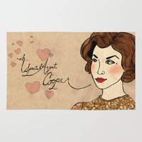 dale cooper Area & Throw Rugs featuring TWIN PEAKS Audrey Horne Loves Dale Cooper by Lindsey Caneso