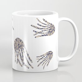 Black and White Jellyfish Digital Pattern, by Eau de Papier Illustration Studio and Design Coffee Mug