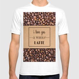 """I Love You a Whole Latte"" Coffee Sleeve & Beans T-shirt"