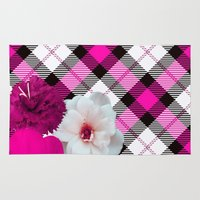plaid Area & Throw Rugs featuring Plaid+, pink by MehrFarbeimLeben