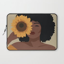 Black woman with sunflower Laptop Sleeve