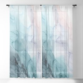 Beachy Pastel Flowing Ombre Abstract Sheer Curtain