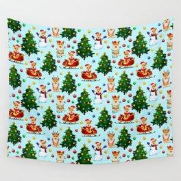 Blue Christmas - From Corgis, Santa And Christmas Trees Wall Tapestry