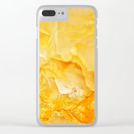Yellow onyx marble Clear iPhone Case