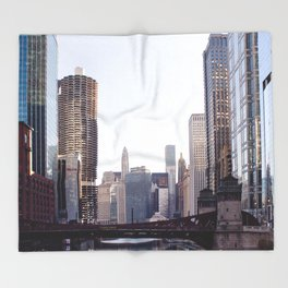 Chicago River Skyline Throw Blanket