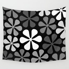 Abstract Flowers Monochrome Wall Tapestry