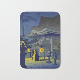 Japanese Woodblock Print Vintage Asian Art Colorful Woodblock Prints Shrine At Night Lantern Bath Mat