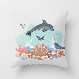Bottlenose Dolphin Throw Pillow