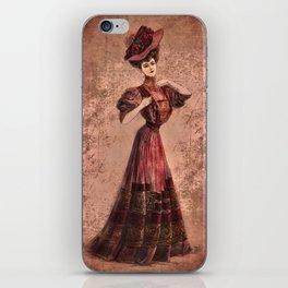Woman in red Edwardian Era in Fashion iPhone Skin
