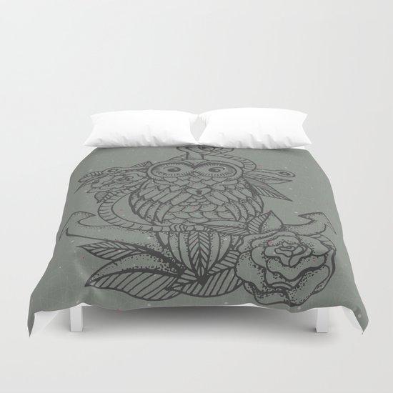 owl, roses & anchor Duvet Cover