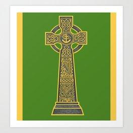 Celtic Cross with Harp Art Print