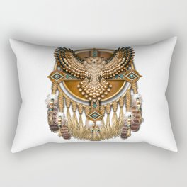 Native American-Style Great Horned Owl Mandala Rectangular Pillow
