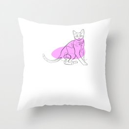 Cat - One Line Drawing Throw Pillow