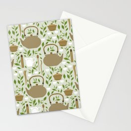 Seamless pattern with items for traditional Chinese tea drinking Pin Cha. The kettle, gaiwan and the green tea leaves. Stationery Cards