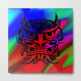 Vicious Tribal Mask Black Rainbow 003 Metal Print