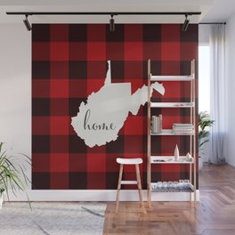 West Virginia is Home - Buffalo Check Plaid Wall Mural