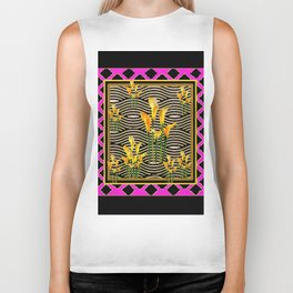 Black & Purple Calla Lilies Design Biker Tank
