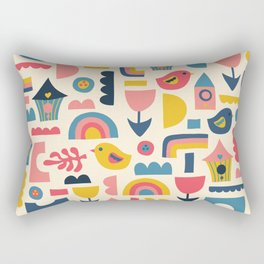 Scandinavian Birds Flowers Rainbows Kids Pattern Rectangular Pillow