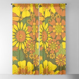 Orange, Brown, Yellow and Green Retro Daisy Pattern Blackout Curtain