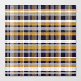 Modern Retro Plaid in Mustard Yellow, White, Navy Blue, and Grey Canvas Print
